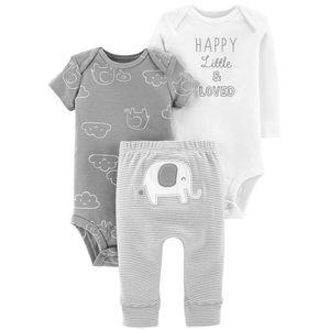 Carter's elephant gray white gender neutral set
